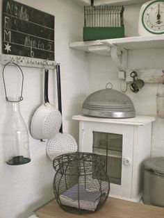 Kitchen Wood Glass Display Curio  Whitewashed Chippy Shabby Chic French Country Rustic Swedish decor idea