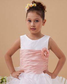 Ankle Length Ruffled Flower Girl Dress  Scoop,Ball Gown,Ankle Length,Natural,Sleeveless,Hand Made Flowers,Ruffles,Zipper,Organza,Satin,Taffeta,Spring,Summer,Fall,Winter,
