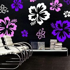 Hibiscus Flowers Wall Decal | Wall Art | Trendy Wall Designs