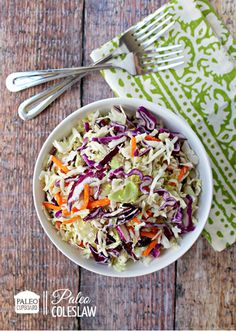 This Paleo Coleslaw recipe can be made with a creamy base or a vinegar base! Try it for your next picnic or BBQ!