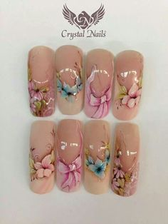 Nail art design on tips - whoever painted these got some skillz! Uñas One Stroke, One Stroke Nails, Powder Manicure, Manicure E Pedicure, Pink Nails, My Nails, Hair And Nails, 3d Nail Art, Cool Nail Art