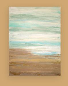 "Abstract Acrylic Painting Art Coastal Shabby Chic Titled: CLEAR SKIES 36x48x1.5"" by Ora Birenbaum on Etsy, $485.00"