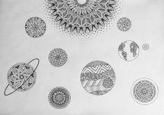 art, black, doodling, earth, jupiter, mandala, moon, planets, saturn, solar system, space, stars, sun, venus, white