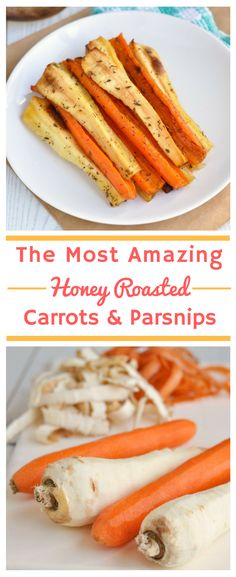 The Most Amazing Honey Roasted Carrots and Parsnips | Whether you're looking for the perfect Thanksgiving side dish recipe or Christmas side dish recipe, this is it! Not only do these roast vegetables taste amazing, but they're also a healthy side dish option and come in at just over 100 calories per serving! They're gluten-free, dairy-free and low FODMAP, too!