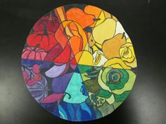 Interesting twist on a color wheel project: Draw an image on a circular card, fill in as a color wheel.