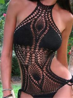 Black Halter High Neck Side Tie Crochet Swimsuit | Choies