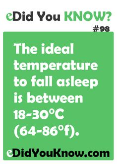 The ideal temperature to fall asleep is between 18-30°C (64-86°f). http://edidyouknow.com/did-you-know-98/