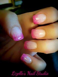 Hot Pink Glitter tips. Hand-painted nail art. Sculpted gel nails. www.facebook.com/LizellesGelNails
