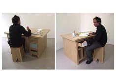cardboard writing desk and stool