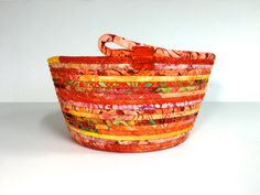 Coiled Rope Basket in Bright Orange Mothers Day by SallyManke