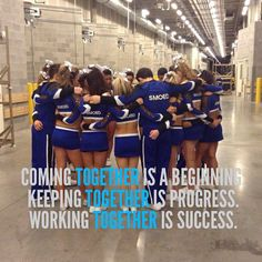 Unity: The cheerleaders are sad but they are still a team. All Star Cheer, Cheer Mom, Cheer Stuff, Team Quotes, Cheer Quotes, Cheer Sayings, Cheerleading Quotes, Netball Quotes, Cheer Captain