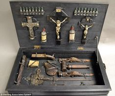 Century European Vampire hunting kit in hand painted wood box. Kit contains wood stakes, silver crucifixes and m. Werewolf Hunter, Vampire Hunter, Sir Integra, Creatures Of The Night, Painted Boxes, Hand Painted, Painted Wood, Victorian Era, Dark Art