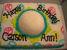 Volleyball Peace This was a very unusual cake request for peace signs and volleyballs. Volleyball Birthday Cakes, Volleyball Party, Volleyball Players, Krispie Treats, Rice Krispies, 12th Birthday, Birthday Parties, Best Cake Ever, Cupcake Cakes