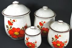 Food Canisters vintage in Sandstone with Orange Flowers  Set of 4 containers for the kitchen  #vintage