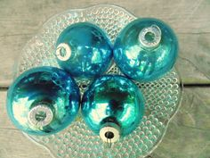 SHINY BRITE. Christmas Ornaments. Tree ornament. Christmas decoration. 1950s Christmas. Made in USA. Teal Blue. glass 3 marked Shiny…