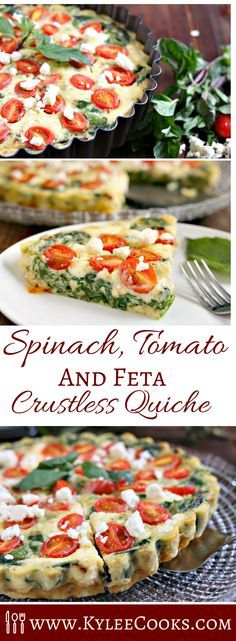 Superfood spinach is the star of the show in this healthy crustless quiche with tomatoes, onions and feta. Delicious warm, room temp, or chilled - this is a versatile and nutritious dish!