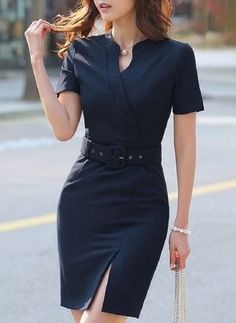 Solid Pencil V-Neckline Knee-Length Bodycon Dress