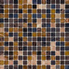 Mineral Tiles - Glass Mosaic Tile Gold Multi Gem, $6.99 (http://www.mineraltiles.com/glass-mosaic-tile-gold-multi-gem/)