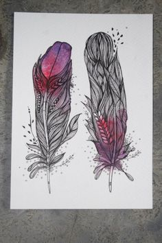 """Dusk Feathers. 5""""x7"""". Original Artwork. Ink and Water Colors. $25.00, via Etsy."""
