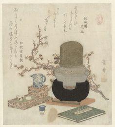 Keisai Eisen   Pruimensake, Keisai Eisen, Shôfûen Hananushi, Haikai Utaba, 1824   Een ketel voor het maken van  pruimensake op een komfoor met er naast een gelakt dienblad met een sake set. Op voor voorgrond een boek  en een pruimenbloesemtak in de achtergrond. Met twee gedichten.