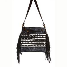 Black Clouds Square Satchel with Fringe