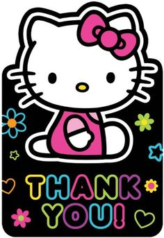 party planning fun celebrate decorating decor events happy birthday enjoy kids children cute  Hello Kitty 'Neon Tween' Thank You Notes w/ Envelopes (8ct)