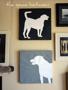 DIY Pet silhouettes... 1 – Buy canvas 2 – Pick your picture 3 – Resize picture 4 – Print picture 5 – Cut out picture 6 – Trace picture onto canvas 7 – Paint outside the lines-- make fun all you want but i love this! cute above the dogs' water bowls!