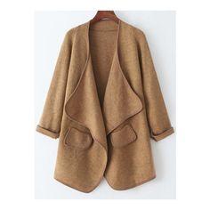 SheIn(sheinside) Khaki Long Sleeve Pockets Loose Sweater Coat ($26) ❤ liked on Polyvore featuring outerwear, coats, khaki, brown coat, long sleeve asymmetric coat, brown sweater coat, cocoon coat and asymmetrical coat
