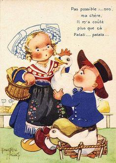 "Béatrice Mallet card - ""No can do, my dear, he cost me more than that, dum-de-dum"""