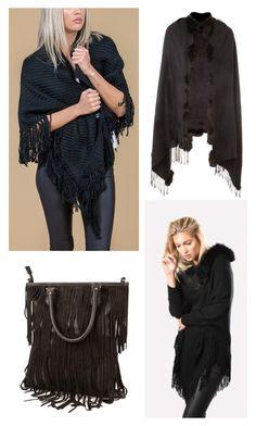 """Fabulous Fringing"" by jayley15 on Polyvore Jayley | Luxury Women's Fashion | Kimonos | Cashmere | Wraps | Accessories | Suedette Capes"