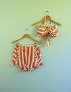 Vintage 40s 50s Bikini Red White Candy Stripe 2 Piece Swimsuit Halter High Waist Shorts Pinup Nautical Sailor Bathing Suit Catalina Medium., via Etsy.
