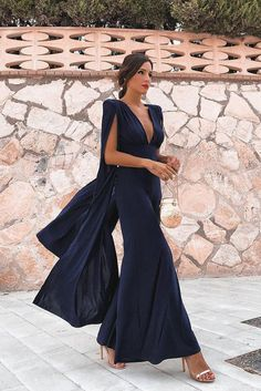 Smileven Pakistan Black Formal Evening Dresses Sexy V Neck Chiffon African Prom Gowns Floor Length Long Formal Party Gowns Cocktail Party Outfit, Party Dress, Cocktail Night, Cape Jumpsuit, Jumpsuit Outfit, Casual Jumpsuit, Bodycon Jumpsuit, Elegant Jumpsuit, Summer Jumpsuit