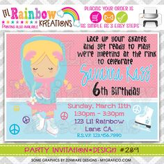 289 DIY Ice Skating Party Invitation Or Thank by LilRbwKreations