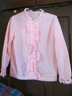 1960's Miss Holly Womens pink ruffled  by Linsvintageboutique