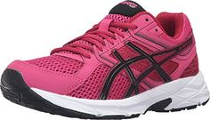 A neutral trainer that is ideal for the new or low-mileage runner. Open mesh upper with supportive synthetic overlays. Exterior boasts reflectivity for low-light visibility. Lightly cushioned tongue a. Asics Fashion, Womens Fashion Sneakers, Women's Fashion, Asics Women, Trainers, Shoes Sneakers, Sport, Pink Black, Boots