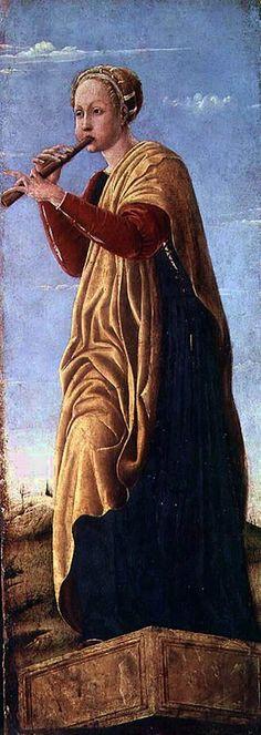 The Muse Euterpe by Francesco del Cossa - Muse de la musique, elle a créé ou inspiré la double flûte.