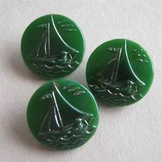 Vintage green glass buttons