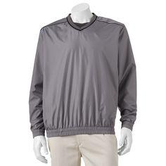 Men's Grand Slam Classic-Fit Performance Windbreaker Golf Jacket, Size: Medium, Med Grey