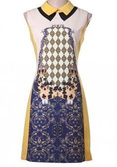 Yellow Patchwork Zipper Lapel Sleeveless Dacron Dress