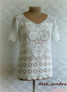 otra idea en filet-blusa con manga - CARAMELO ARDIENTE es... LA PRINCESA DEL CROCHET