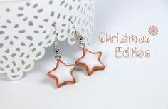 Schmuck - Plätzchen Sterne mit Glasur Ohrhänger aus Fimo - ein Designerstück von CreativeKitchen bei DaWanda