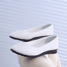 Womens Flats Pointed Toe Ballet Low Cut Loafers Shoes Popular White US Size 8