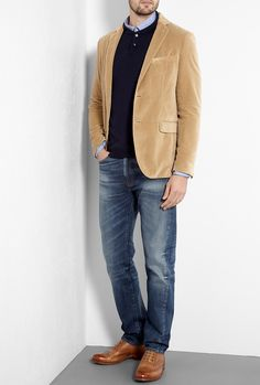 My very favorite look for men, such a great look! Camel Washed Velvet Jules Blazer by Hartford
