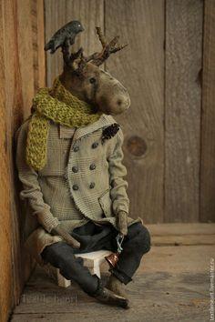 Купить Александр. - серый, лось, лось игрушка, авторская кукла, чердачные игрушки, чердачная кукла