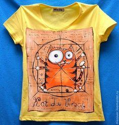 Купить или заказать Футболки 'КоТ да Винчи' в интернет-магазине на Ярмарке Мастеров. Не знаю кто придумал этого кота, но по моему он просто шедевр! Однажды сделала данный рисунок на футболке по просьбе одной дамы, теперь могу и для вас повторить…
