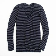 Factory vintage cotton long-sleeve tee in thin stripe/