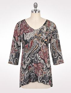 Plus Size Embellished Paisley V-Neck Top