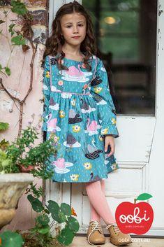 Sage Dress Teal Swan | Girls Party Dress | Oobi Girls Kid Fashion