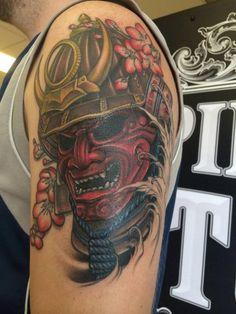Samurai Helmet Tattoo by Gigi McQueen
