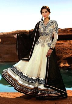 White and Black Floor Length Anarkali